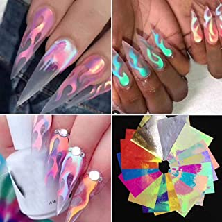 Gotian 16PCS Nail Art Stickers, Flame Reflections Tape Adhesive Foils DIY Decoration, Can be Used to Design Your Own Nail Art, Nail Patterns, Highlight, the Effect of Fire Makes You Special