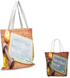 grocery bags Fitness Make It a Lifestyle Not a Duty Chalkboard Apple Dumbbell Tape Measure on Wood Print Multicolor canvas tote bag