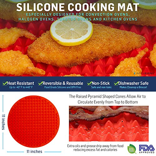 Cooking Baking Accessories Compatible with NuWave Oven Pro, Pro Plus & Elite Models - Convection Oven Baking & Cooking Tools Set - Grill Mat, Grill Mesh and Silicone Cooking Mat | by Infraovens (Convection Oven Compatible)