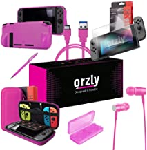 Orzly Switch Accessories Bundle, Pink Orzly Carry Case for Nintendo Switch Console, Tempered Glass Screen Protectors, USB Charging Cable, Switch Games Case, Comfort Grip Case, Headphones) Pink