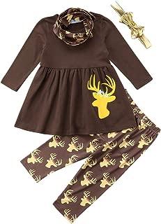 Toddler Kid Baby Girls Christmas Outfit Santa Claus Long Sleeve Tops Dress Pants Leggings Clothing Set