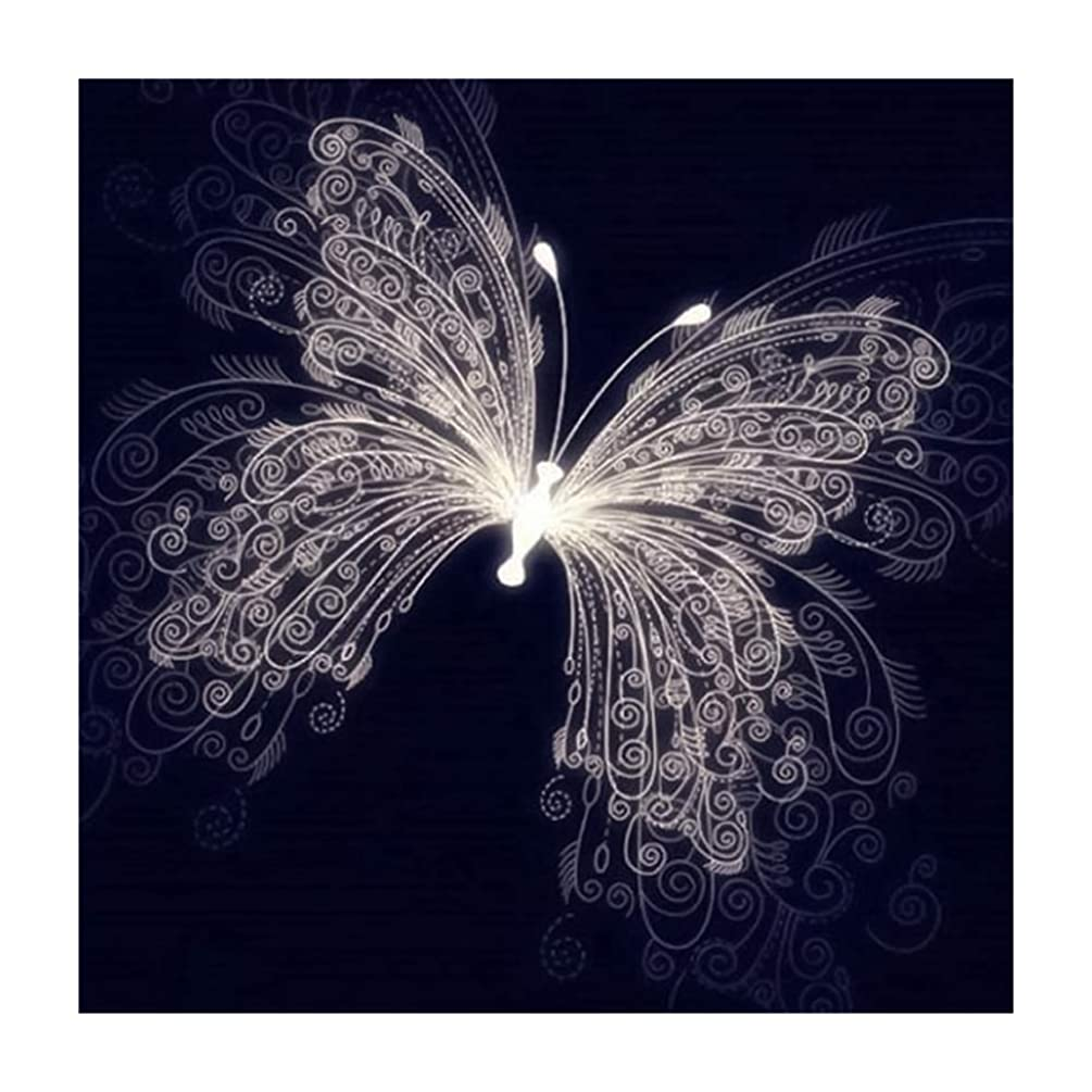 DIY 5D Diamond Painting by Number Kits Full Drill Rhinestone Embroidery Paintings Pictures Fashion Crystal Butterfly Painting Craft Wall Decor (16X16Inch)