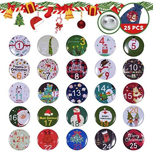 Adventskalender zum Befüllen Basteln Zahlen Aufkleber 1-25, Metall Advent Zahlen Nummer Sticker Buttons mit Nadelrücken für Weihnachtskalender Geschenktaschen Selbst Befüllen Jutesäckchen Dekoration