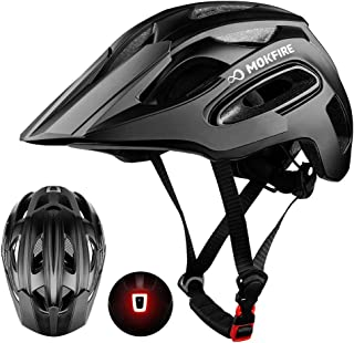 MOKFIRE Mountain Bike Helmet for Adult Men Women with USB Safety Light, Adjustable MTB Cycling Bicycle Helmet CPSC Certified with Detachable Long Visor/Large Vents, 21.26-24 Inches