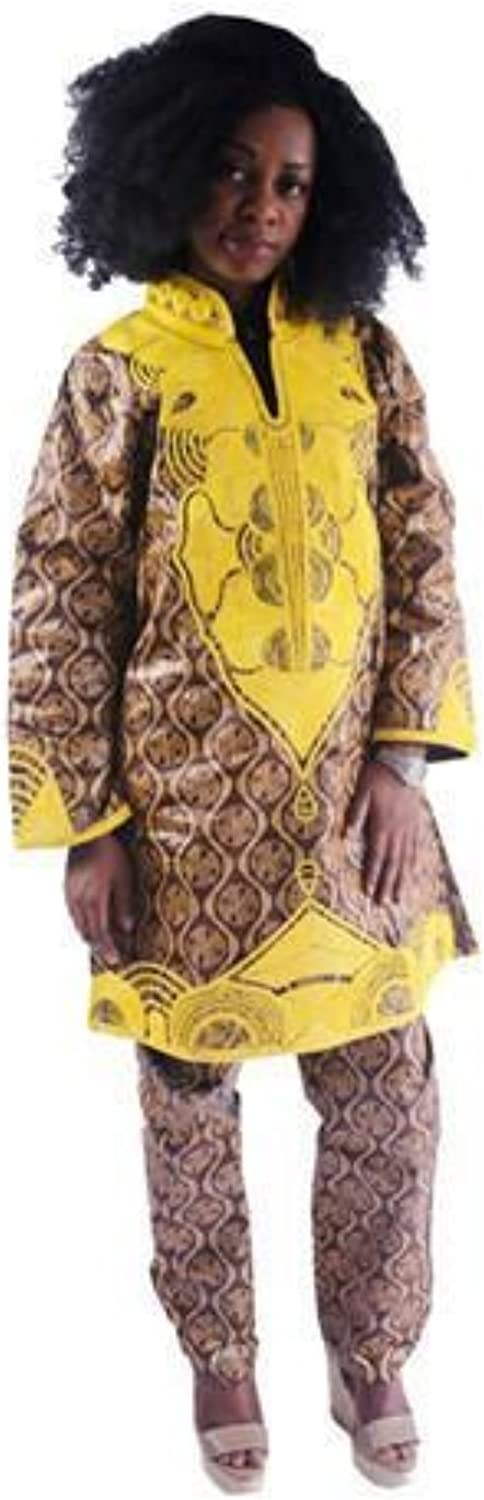 African Clothing Women Bazin Riche Dashiki Traditional Embroidered Top & Pants