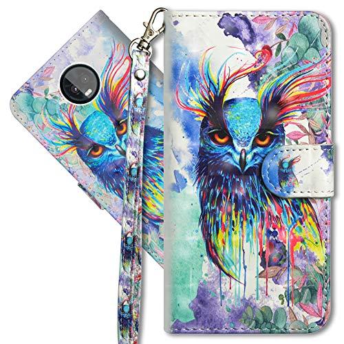 MRSTER Moto Z3 Play Handytasche, Leder Schutzhülle Brieftasche Hülle Flip Hülle 3D Muster Cover mit Kartenfach Magnet Tasche Handyhüllen für Motorola Moto Z3 Play. YX 3D - Colorful Owl