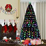 FB FunkyBuys Deluxe Green 3ft,4ft,5ft,6ft Christmas Tree Multicolor LEDs 8 FTN Controller & Top Star - 6FT w/Metal Stand (220 LEDs)