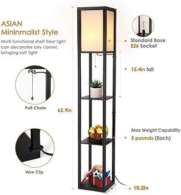YMLSD Floor Lights,Standing Light Vertical Lamps Lights Shelf Floor Lights,Wooden Frame Tall Light with Shees Modern Standing