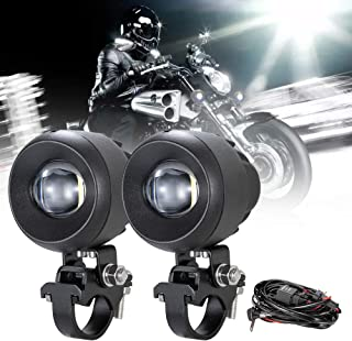 BUNKER INDUST LED Auxiliary Lights with Wiring Harness for Universal Motorcycle, 1 Pair 30W 6500K LED Driving Fog Lights 3000LM Spot Beam Cree LED Lighting Bulbs for Offroad Motorcycle Motorbike