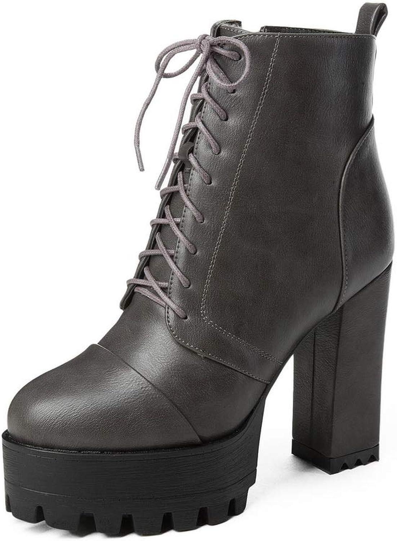 AdeeSu Womens Square Heels Chunky Heels Platform Microfiber Boots SXC03745