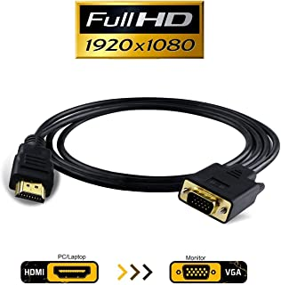 HDMI to VGA, VAlinks 1080P HDMI to VGA Adapter (Male to Male) Video Converter Support Convert Signal from HDMI Input Laptop HDTV to VGA Output Monitors Projector-1.8m/6ft (hdmi to vga 1.8m/6ft)