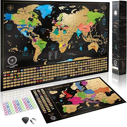 Wanderlust Mapa Mundi Rascar y Mapa Rascable Europa, Color Negro y Dorado, 61 x 43 Centímetros, Hechos en Europa