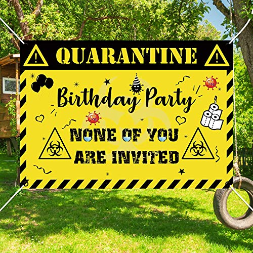 Allenjoy Quarantine Birthday Party Supplies Banner for Kids Indoor Outdoor Decorations Bday Backdrop Social Distancing Lawn Yard Flag Caution Sign 59x35.4 Inch Hanging Wall Decors Durable Fabric