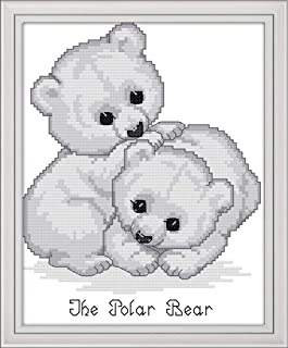 Cross Stitch Kits, The Little Polar Bear Awesocrafts Easy Patterns Cross Stitching Embroidery Kit Supplies Christmas Gifts, Stamped or Counted (Bear, Counted)