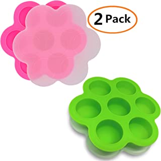 GOKCEN's Silicone Egg Bites Molds For Instant Pot Accessories - Fit Instant Pot 3,5,6,8 qt Pressure Cooker - Baby Food Freezer Tray with Lid - Reusable Storage Container - 2 Pack (Green & Pink)