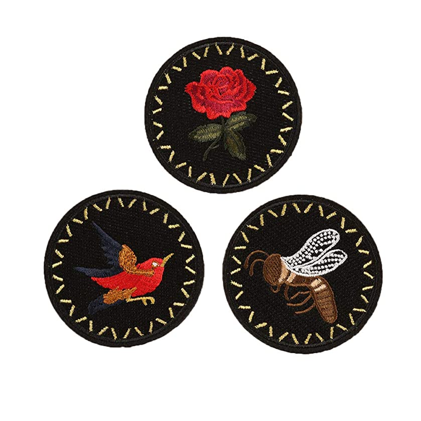 SOUTHYU 3 Pieces Iron On Patches for Clothing Repair - Embroidered Flower Bee Bird Pattern Decorative Motif Appliques Badge Sew On Emblem for DIY Clothing Jeans Jacket Backpack Hat Dress Shoes