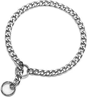 Mogoko Stainless Steel Dog Choke Chain Collar, Puppy Metal P Chain Slip Collar Pet Titan Training Walking Choker