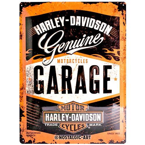 Nostalgic-Art Harley-Davidson – Garage – Geschenk-Idee für Motorrad-Fans, Retro Blechschild, aus Metall, Vintage-Design zur Dekoration, 30 x 40 cm