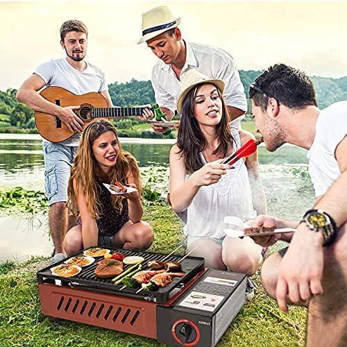 Barbecue À Gaz Portable, Barbecue À Gaz De Camping 2.1Kw Avec Plaque De Gril Et Filet De Gril, Gril De Table Pour Pique-Nique, Camping, Barbecue