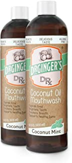 Dr. Ginger's Coconut Oil Pulling Mouthwash, 14 oz, 2 Count - Coconut Mint Flavor