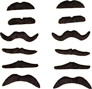 BWWNBY 12pcs/Set Party Halloween Christmas Fake Mustache Funny Fake Beard Whisker for Your Birthday - Novelty and Toy, for...