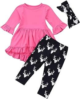 KONFA Teen Kids Toddler Baby Girls 3Pcs Outfits Xmas Clothes,Ruffles Dress+Christmas Deer Print Pants+Headband Sets