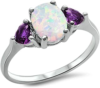 Oxford Diamond Co Lab Created White Opal & Simulated Amethyst.925 Sterling Silver Ring Sizes 4-11