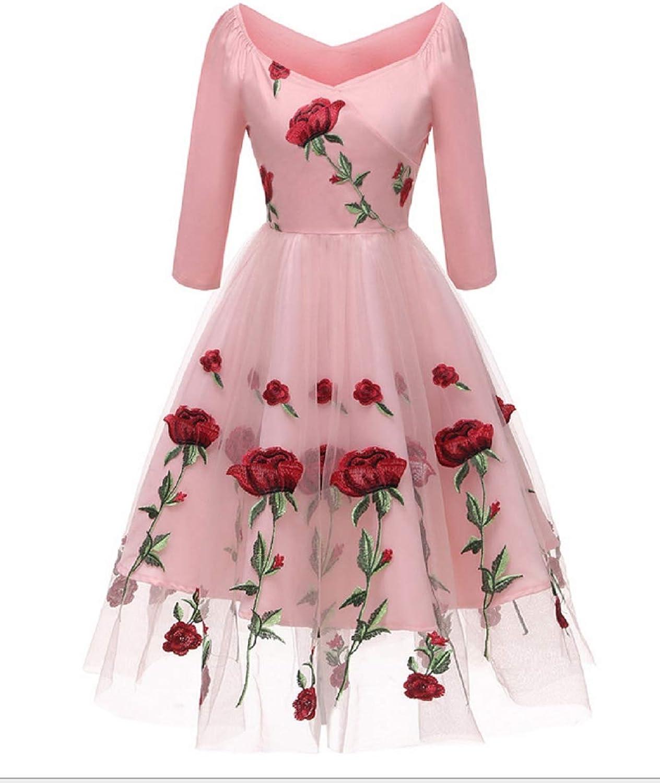 Women VNeck Aline Embroidery pink Lace Party Dressvintage Dress