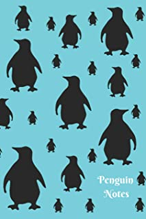 Penguin Notes: Cute Teal Aqua Blue and Black Penguin Pattern 6