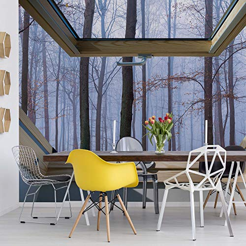 Nebligen Wald 3D-Dachfenster-Ansicht Vlies Fototapete Fotomural - Wandbild - Tapete - 152.5cm x 104cm / 1 Teilig - Gedrückt auf 130gsm Vlies - 10412VEL - Wald und Bäume