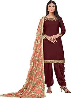 Maroon Patiyala Salwar Suit Satin Dress Material with Heavy Work Dupatta for Girls & Women Free Size 8442…