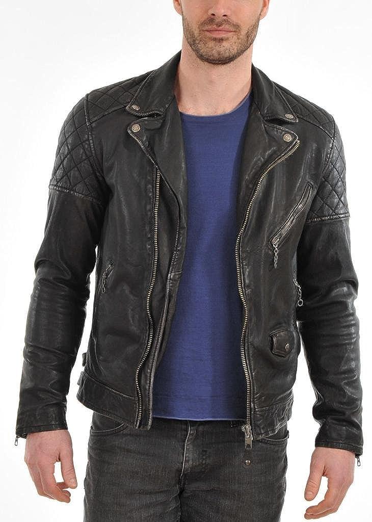 New York Leather Leather Bomber Men's Outwear Jacket Biker Motorcycle Slim Fit