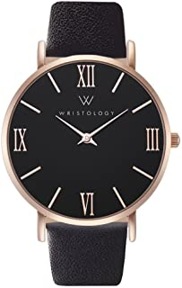 Stella Womens Watch Rose Gold Black Face Roman Numeral Numbers Boyfriend Ladies Black Leather Strap Band