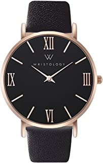 Stella - 2 Options - Womens Rose Gold Black Face Roman Numeral Numbers Watch