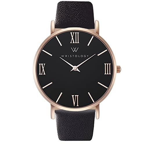 2d35988f21d WRISTOLOGY Stella Womens Rose Gold Roman Numeral Wrist Watch Black Leather  Easy Change Band
