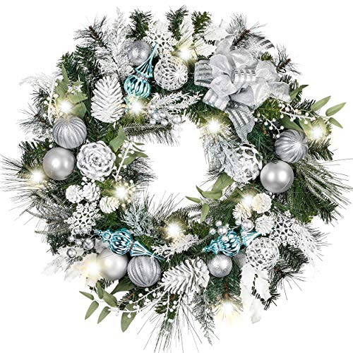 Valery Madelyn Pre-Lit 30 inch Frozen Winter Silver White Christmas Wreaths for Front Door with Lights Ball Ornaments Snowflake, Battery Operated 40 LED Lights Wreath for Outdoor Home Window Fireplace