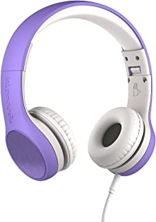 New! LilGadgets Connect+ Style Kids Premium Volume Limited Wired Headphones with SharePort and Inline Microphone (Children, Toddlers) - Purple