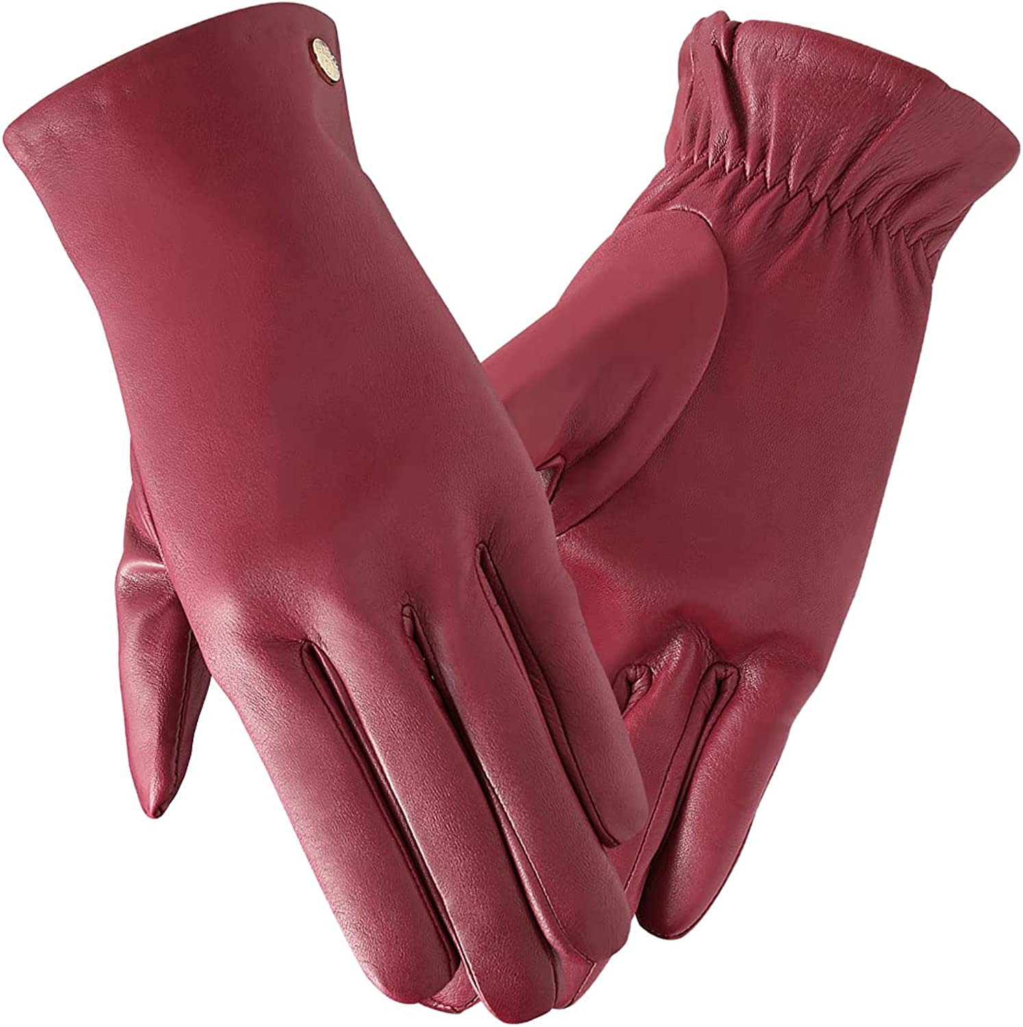 Frlozs Soft Winter Genuine Leather Gloves for Women Warm Cashmere Lining Driving