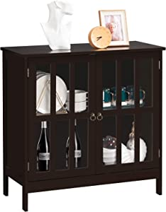VINGLI Buffet Cabinet Kitchen Buffets & Sideboards Dining Buffet Cabinet with Storage Small Accent Cabinet with Transparent Doors for Kichen, Dining Room, Living Room, Brown