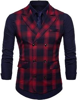 MU2M Men Slim Casual Plaid Lapel Business Suit Vests Waistcoat