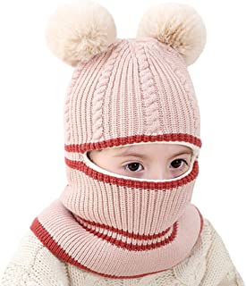 Tusong Unisex Baby Toddle Kids Winter Hat Scarf Earflap Hood Scarves Skull Caps (Bear Buff Beige)