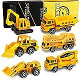 XDDIAS Mini Modelos de Construcción, 6 Pcs Aleación Modelo Camiones de Juguete, Diecast Metal Vehículos de Coches Camión Excavadora Navidad Cumpleaños Regalo para Niño 3 Años