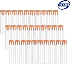 BTSD-home 25x95mm Flat Bottom Plastic Test Tubes with Cork Stoppers for Scientific Experiments, Halloween, Christamas, Scientific Themed Kids Birthday Party Supplies, Candy Storage(30 Pack)