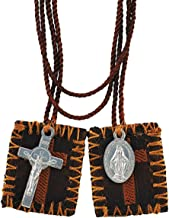 Brown Cross Embroidered Scapular with Miraculous Medal and Cross, 15 1/2 Inch