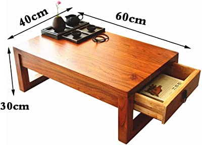 Tables Square Coffee Table Household Elm Tea Table Living Room Storage Drawer Table Tatami Coffee Table Simple Japanese Low Table (Color : Wood Color, Size : 60 * 40 * 30cm)