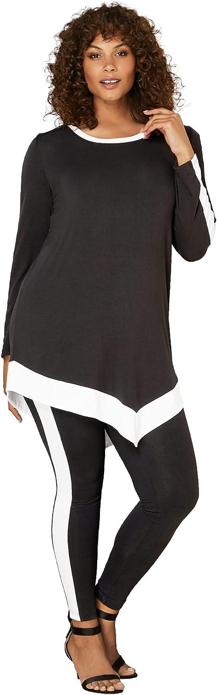 Roamans Women's Plus Size Contrast-Trim Lounge Set Matching Long Sleeve Shirt and Leggings