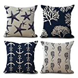 Tlovudori Ocean Theme Starfish Sea Horse Coral Anchor Cotton Linen Home Decorative Throw Pillow Case Cushion Cover for Couch Sofa Bed 18' x 18' Set of 4 (Ocean Theme - Navy Blue)