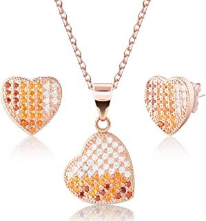 iRealy 14K Rose Gold Plated Earrings Stud and Necklace Fashion Jewelry Set, 925 Sterling Silver Crystal Earrings Halo Love...