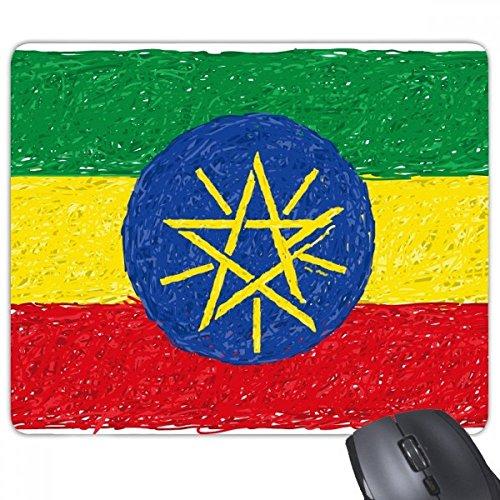 Rood Geel Groene Strepen Ethiopië Vlag Nationale Culturele Element Rechthoek Antislip Rubber Mousepad Game Mouse Pad Gift