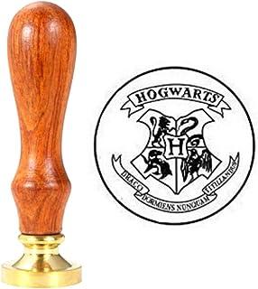 Anbose Tampon de cire pour sceaux de cire Poudlard avec poignée en bois et sceaux en cuivre rétro vintage pour cartes de l...